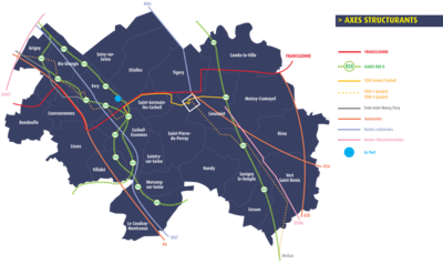 carte axes structurants Grand Paris Sud