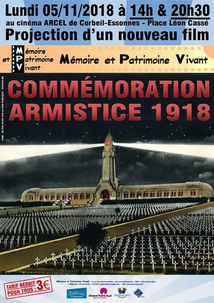 Projection film mpv commemoration armistice 1918 corbeil essonnes 05 11 2018